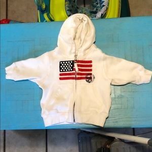 Children's place white American flag hoodie 6-9 mo